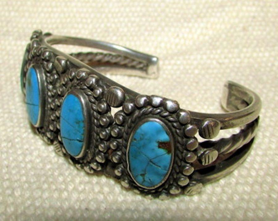 Bracelet-early-4-stone-Navajo